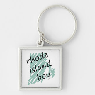 Rhode Island Boy on Child's Rhode Island Map Silver-Colored Square Keychain