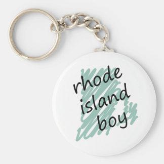 Rhode Island Boy on Child's Rhode Island Map Basic Round Button Keychain