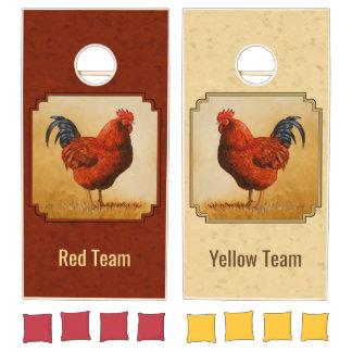 Rhode Island Chicken Red Background Cornhole Set
