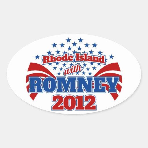 Rhode Island con Romney 2012 Pegatina Ovalada