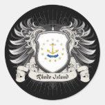 Rhode Island Crest Round Stickers