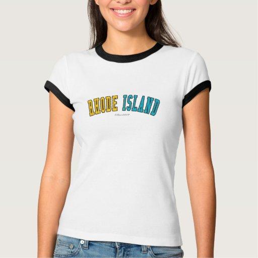 Rhode Island en colores de la bandera del estado T-shirt