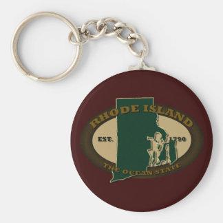 Rhode Island Est 1790 Llavero Redondo Tipo Pin