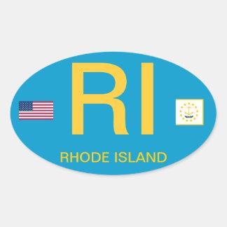 Rhode Island* Euro-style Oval Bumper Sticker