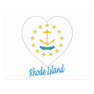 Rhode Island Flag Heart Postcard