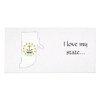 Rhode Island Flag Map Photo Greeting Card