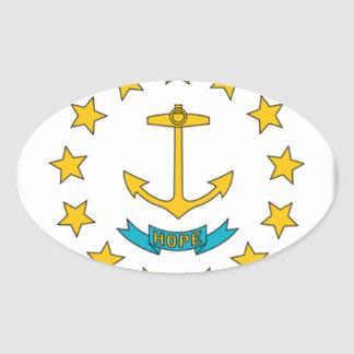 Rhode Island Flag Oval Sticker