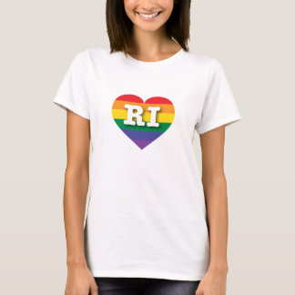 Rhode Island Gay Pride Rainbow Heart - Big Love T-Shirt