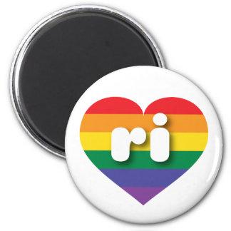 Rhode Island gay pride rainbow heart - mini love 2 Inch Round Magnet