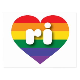 Rhode Island gay pride rainbow heart - mini love Postcard
