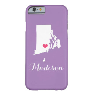 Rhode Island Heart Lilac Purple Custom Monogram Barely There iPhone 6 Case