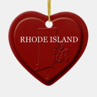 Rhode Island  Heart Map Christmas Ornament