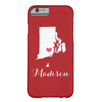 Rhode Island Heart Maroon Custom Monogram Barely There iPhone 6 Case