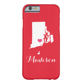 Rhode Island Heart Red Custom Monogram Barely There iPhone 6 Case