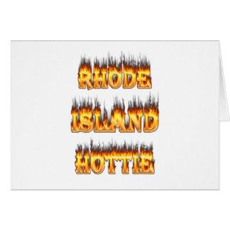 Rhode Island Hottie fire and flames Card