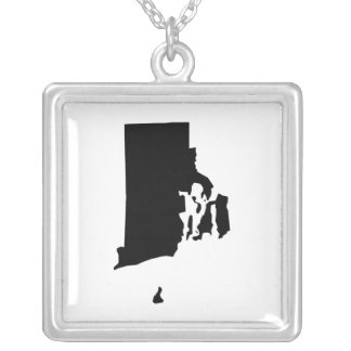 Rhode Island in Black and White Square Pendant Necklace