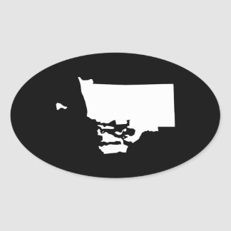 Rhode Island in White and Black Oval Sticker