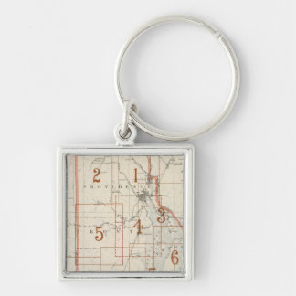 Rhode Island index map Silver-Colored Square Keychain