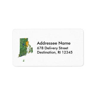 Rhode Island Map Address Label