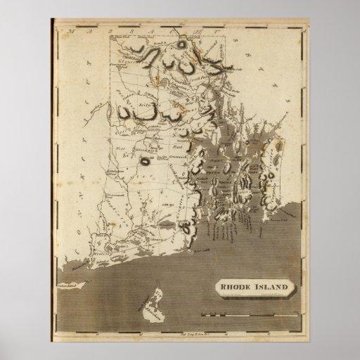 Rhode Island Map by Arrowsmith Poster