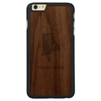 Rhode Island map Carved® Walnut iPhone 6 Plus Slim Case