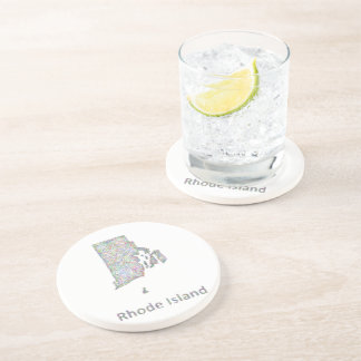 Rhode Island map Drink Coaster