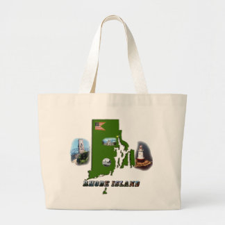 Rhode Island Map, Photos and Text Tote Bag