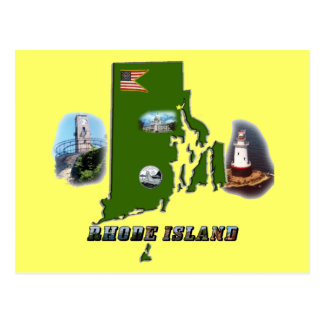 Rhode Island Map, Photos and Text Postcard