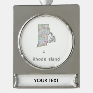 Rhode Island map Silver Plated Banner Ornament