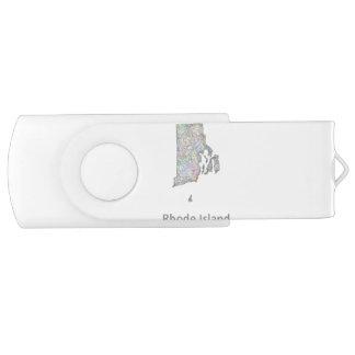 Rhode Island map USB Flash Drive