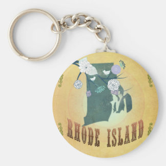 Rhode Island Map With Lovely Birds Basic Round Button Keychain