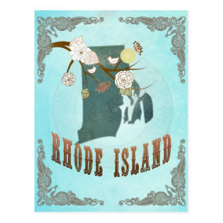 Rhode Island Map With Lovely Birds Postcard