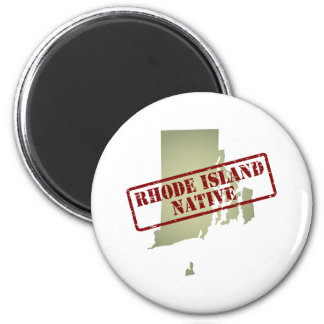 Rhode Island Native Stamped on Map Magnet