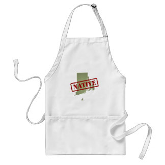 Rhode Island Native with Rhode Island Map Adult Apron