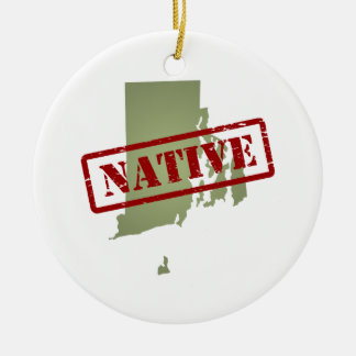 Rhode Island Native with Rhode Island Map Ceramic Ornament