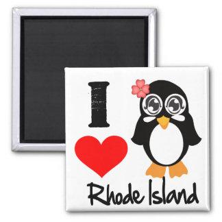 Rhode Island Penguin - I Love Rhode Island 2 Inch Square Magnet