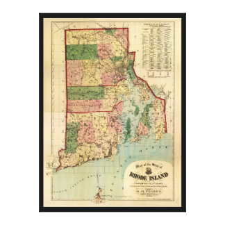 Rhode Island & Providence Plantations Map (1880) Canvas Print