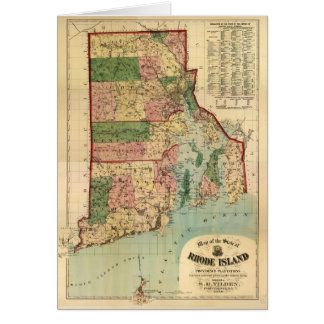 Rhode Island & Providence Plantations Map (1880) Card