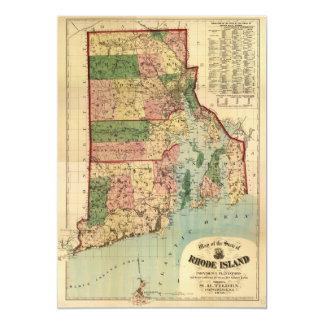 Rhode Island & Providence Plantations Map (1880) Card
