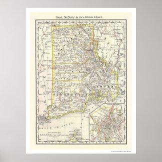 Rhode Island Railroad Map 1875 Print
