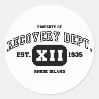 RHODE ISLAND Recovery Classic Round Sticker