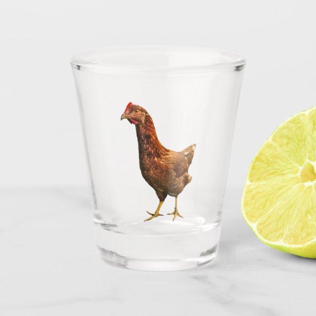 Rhode Island Red Hen Bird Shot Glass