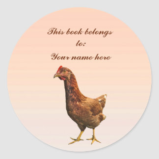 Rhode Island Red Hen Chicken Bookplate