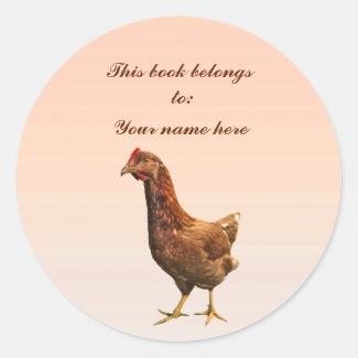 Rhode Island Red Hen Chicken Bookplate