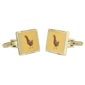 Rhode Island Red Hen Chicken Cufflinks