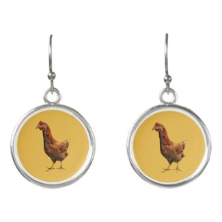 Rhode Island Red Hen Chicken Drop Earrings