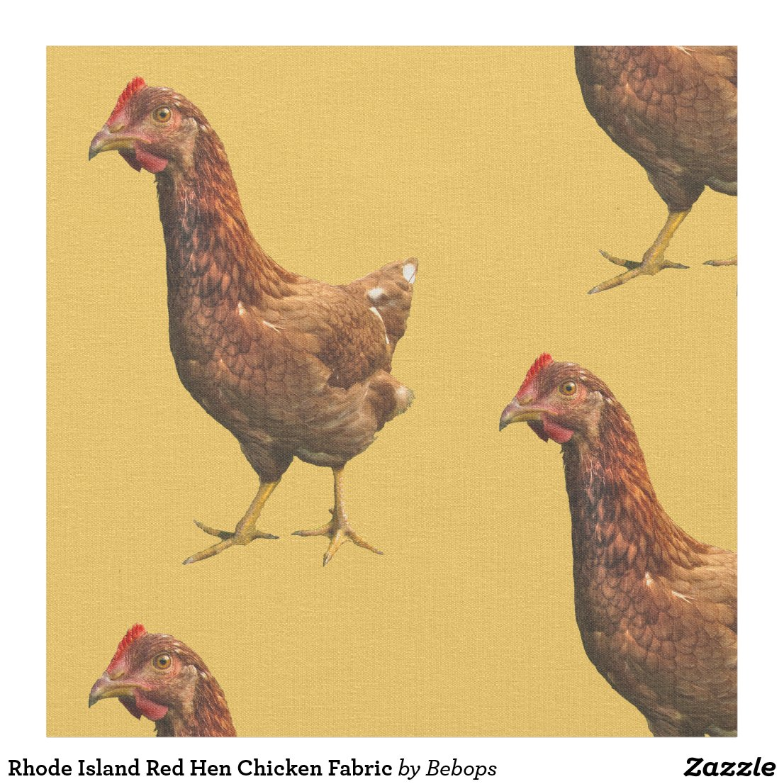 Rhode Island Red Hen Chicken Fabric