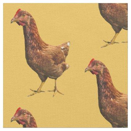 Rhode Island Red Hen Chicken Fabric