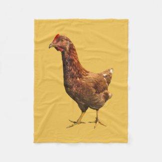 Rhode Island Red Hen Chicken Fleece Blanket