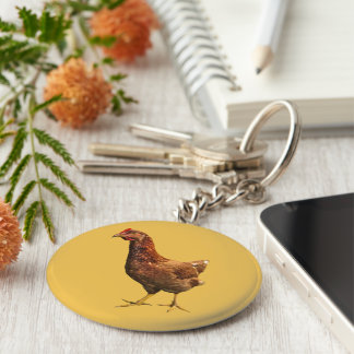 Rhode Island Red Hen Chicken Keychain